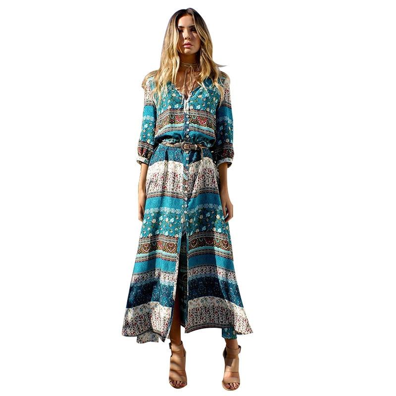 Women lady  Bohemia Long Maxi Dress V-Neck Three Quarter Sleeve Beautiful Floral Print Ethnic Breasted beach dress