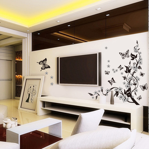 Image 2 - Yaratıcı kelebek çiçek şube dekoratif duvar çıkartmaları ev dekor oturma odası dekorasyon Pvc duvar çıkartmaları Diy duvar sanatı