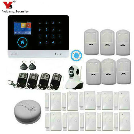 YobangSecurity WiFi GSM GPRS RFID Home Burglar Fire Alarm System Kit Wireless Siren IOS Android APP Control With Video IP Camera yobangsecurity touch keypad wifi gsm gprs rfid alarm home burglar security alarm system android ios app control wireless siren