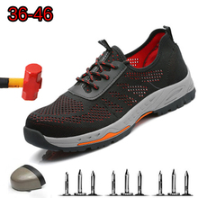 Casual Breathable Mesh Deodorant Chuteira Fashion Woven Labor Insurance Shoes Anti-smashing Anti-puncture Steel Head Safety Shoe