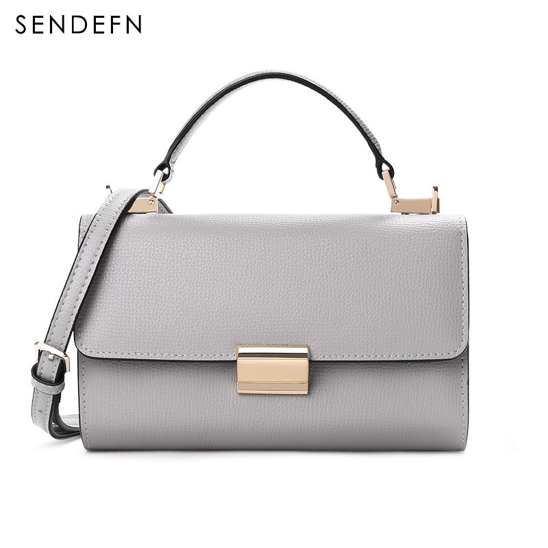 2018 New Sendefn Handbag Women Leather Handbags Fashion Mini Tote Bag With Zipper Small Women Messenger Bags Chain Black Bag сумка через плечо bag with chain 2015s xc374 women leather handbags