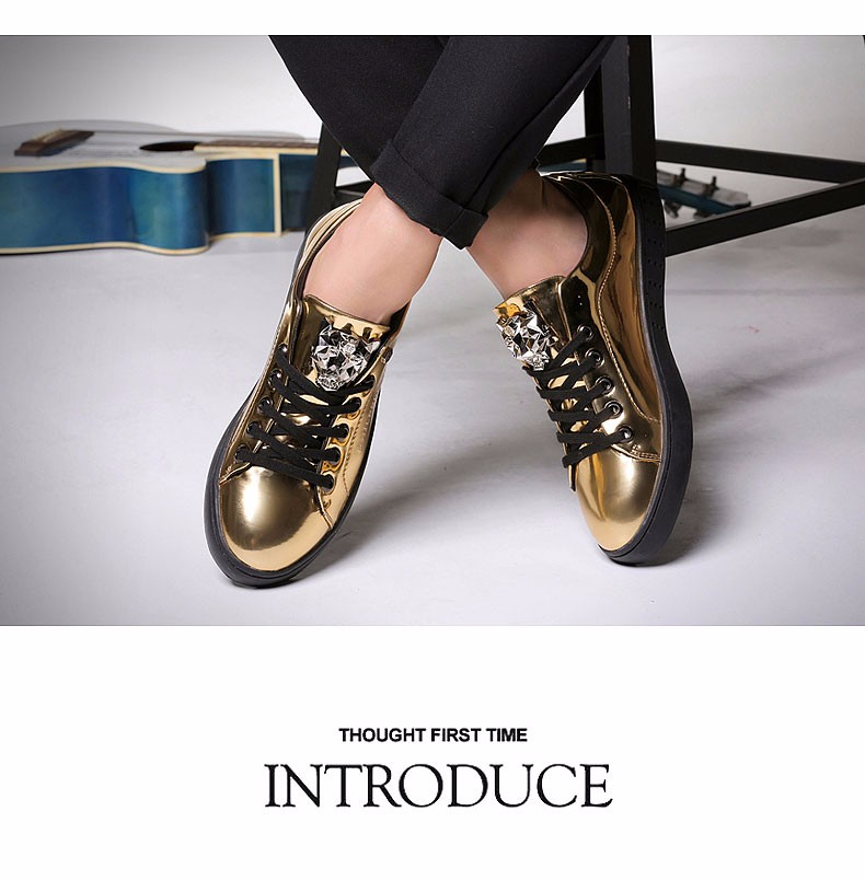 KUYUPP 2016 High Quality PU Patent Leather Men Flats Shoes Leopard Head Sequined Skate Shoes Round Toe Lace Up Men Flat Heel Y31 (21)