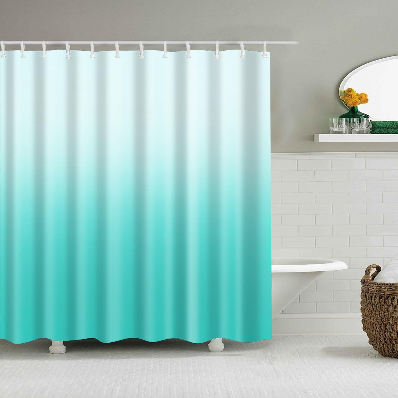 Single Gradient Print Bath Curtain For Home Decor Waterproof Shower Curtain With 12 Hooks Bathroom Curtain Bathroom Decor