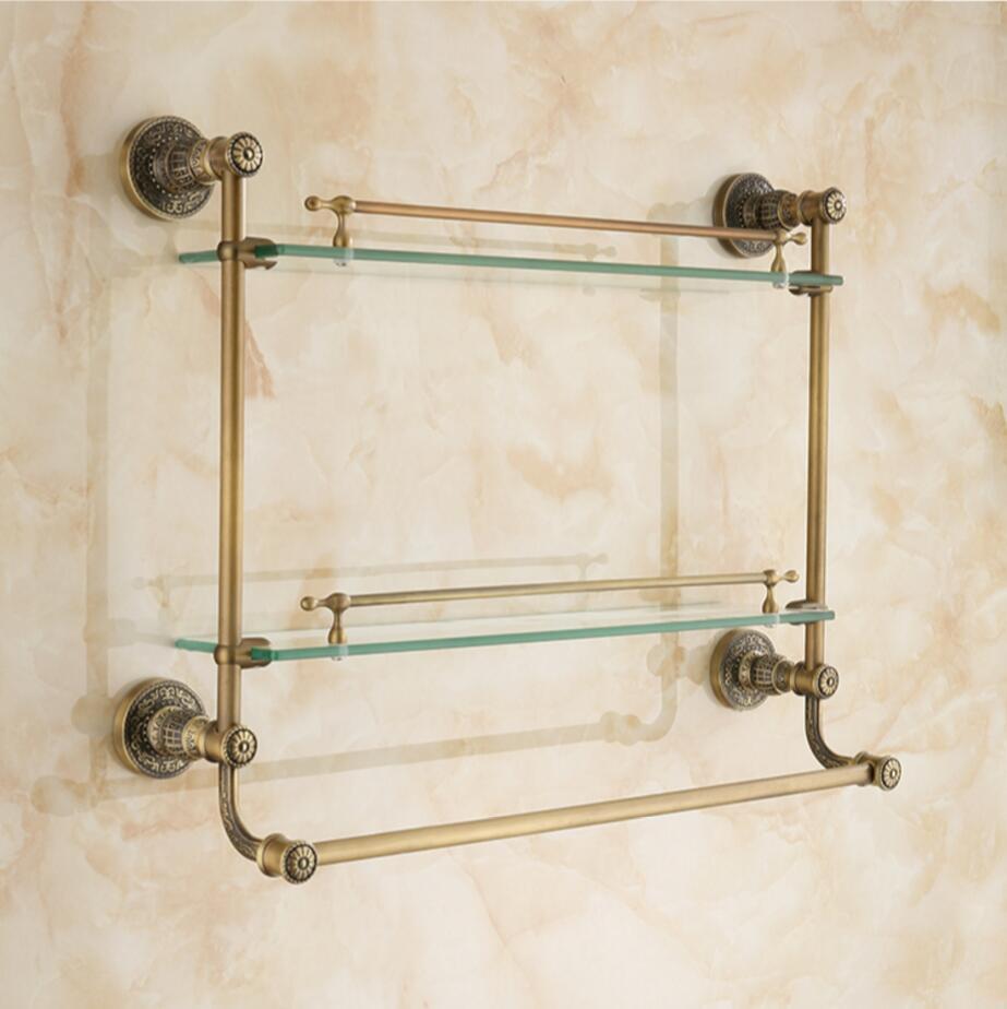 Aliexpress.com : Buy Double level glass Bathroom glass shelf antique ...