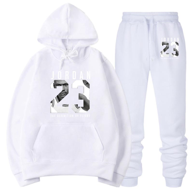 OLOEY Jordan 23 White Tracksuit Sweat Men Hoodie  & Sweatpants Fashion Jogger Men Set Spring Streetwear Jogging Suit For Male