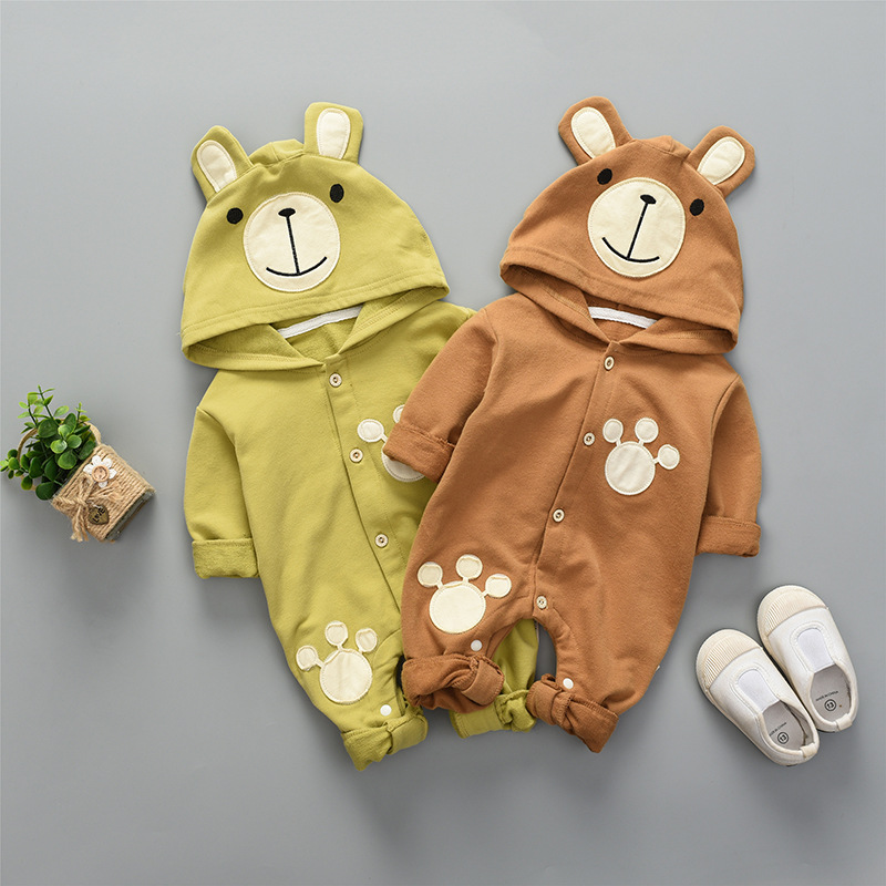 WYNNE GADIS Autumn Baby Girls Cotton Long Sleeve Hooded Cute Bear Kids Romper Infant Boys Casual Jumpsuits roupas de bebe new baby rompers long sleeve coveralls cute v neck baby clothes solid cotton infant romper spring autumn boys girls jumpsuits