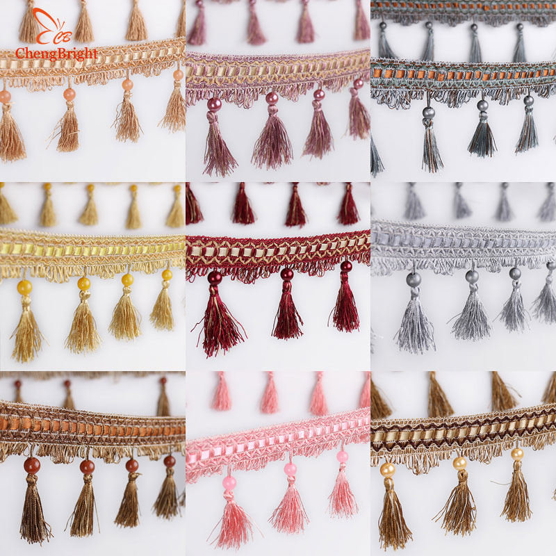 CHENGBRIGHT New 10 Meters 10CM Long Polyester Lace Tassel Flower Curtain Cloth Lace Home Decoration Accessories Textile Tassels