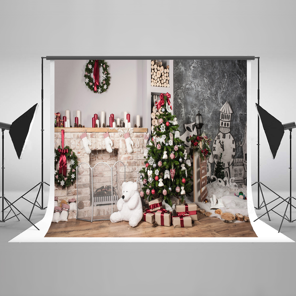 Kate 7x5 Christmas Tree Backdrop for Photography Cotton Fotografia Present Box White Bear Fireplace Background for X-mas сумка kate spade new york wkru2816 kate spade hanna