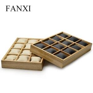 Image 5 - FANXI деревянный Ювелирный Браслет Дисплей лоток с микрофиброй 12 сетки подушки для выставки браслет часы Организатор оптовая торговля