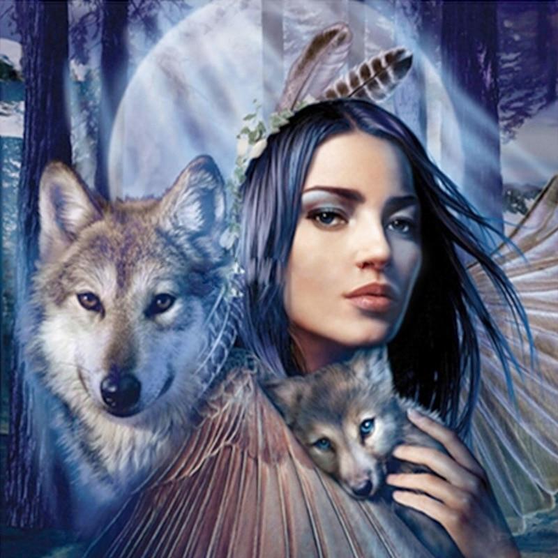 Добрым, открытка волк с девушкой