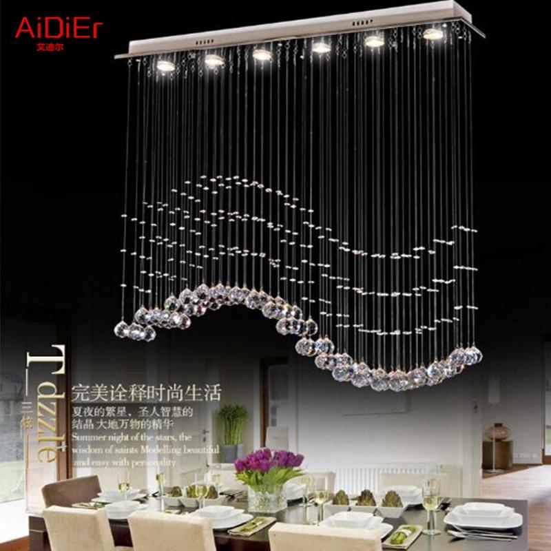 Living Room Bedroom Restaurant Pendant Chandelier Wave Shaped Crystal Lamps Bar Dining Led Lights 100 Quality Guarantee