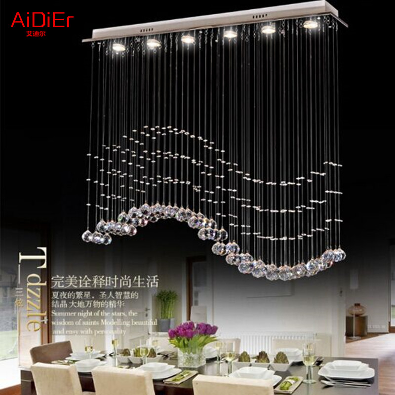 Living room bedroom  restaurant Pendant chandelier wave-shaped crystal lamps bar dining room led lights 100% quality guarantee a1 master bedroom living room lamp crystal pendant lights dining room lamp european style dual use fashion pendant lamps