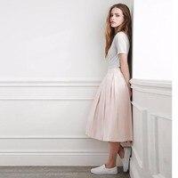Custom Made Blush Pink Women Skirt High Quality Zipper Waist Mid Calf Pleated Lolita Skirt A Line Saia Faldas Jupe Any Color