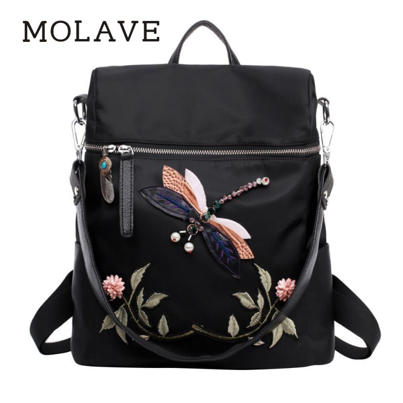 Molavebackpackwomen Bags Embroidery Backpack Female Zipper Dragonfly  Practical Functional Travel Female Backpacks Dec27
