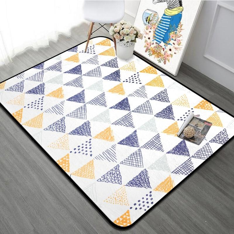 100X150 CM tapis Rectangle Style nordique jaune bleu tapis géométrique pour salon enfants chambre enfants jouer tapis de sol