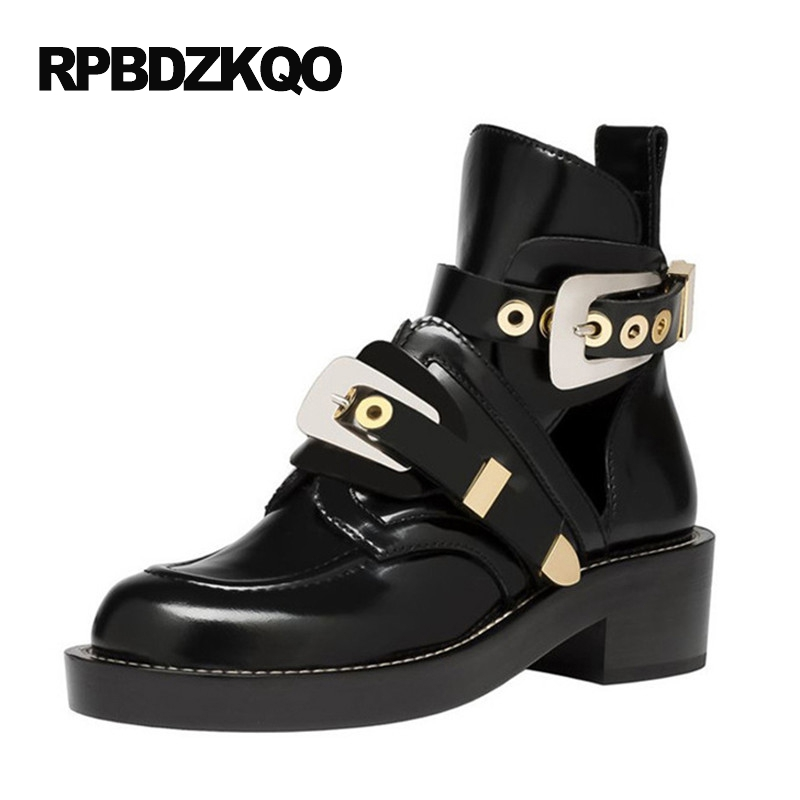 Women Platform Metal Shoes Waterproof Black Ankle Designer Chunky Brand Patent Leather Round Toe Block Punk Rock Boots 2017 punk platform creepers shoes womens round toe patent leather block high heel pumps lace up riding ankle boots shoes plus size