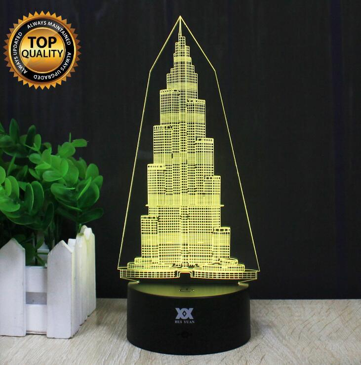 US $14 12 29% OFF|Burj Khalifa Tower Lamp Car Motorcycle Fighters 3D Lamp  LED Novelty Night Lights USB Light Child's Birthday Gift HUI YUAN Brand-in