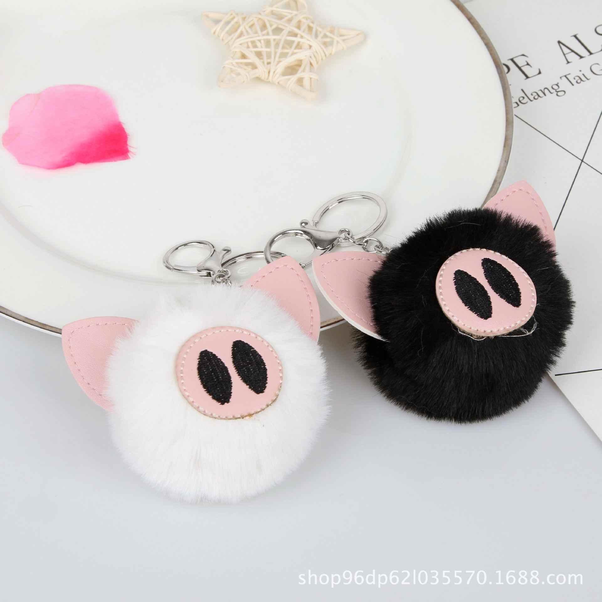 Bonito Falso Pele De Coelho Bola Pompom Pompom Moda Chaveiro Chaveiro Chaveiro Porco Animal Pom pom Mulheres Saco do Anel Chave jóias