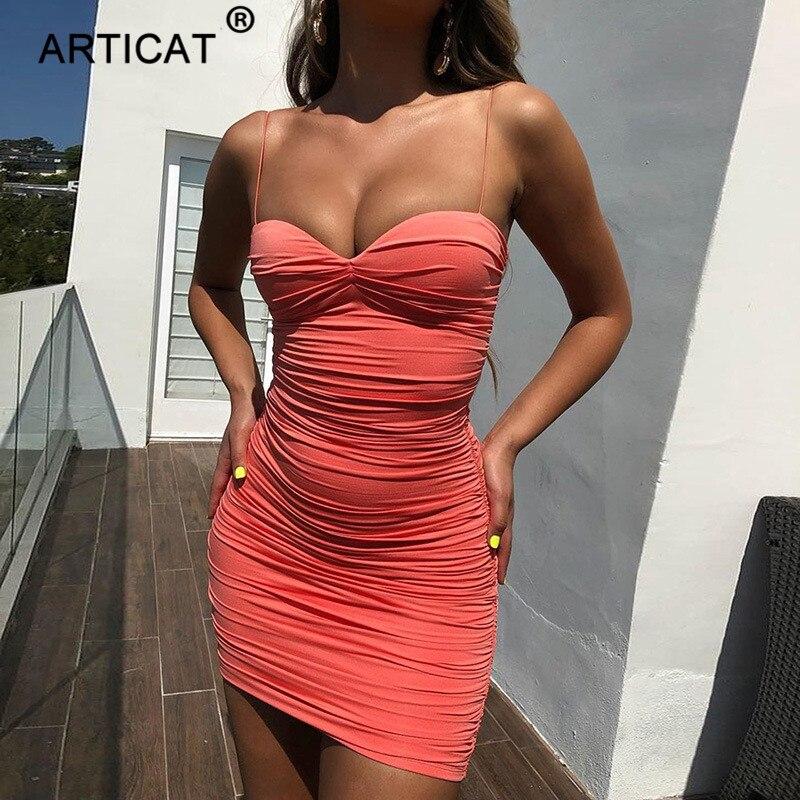 4f73e0a59ec3 Articat Spaghetti Strap Ruched Sexy vestido de verano Mujer sin hombros sin  espalda Bodycon Mini ...