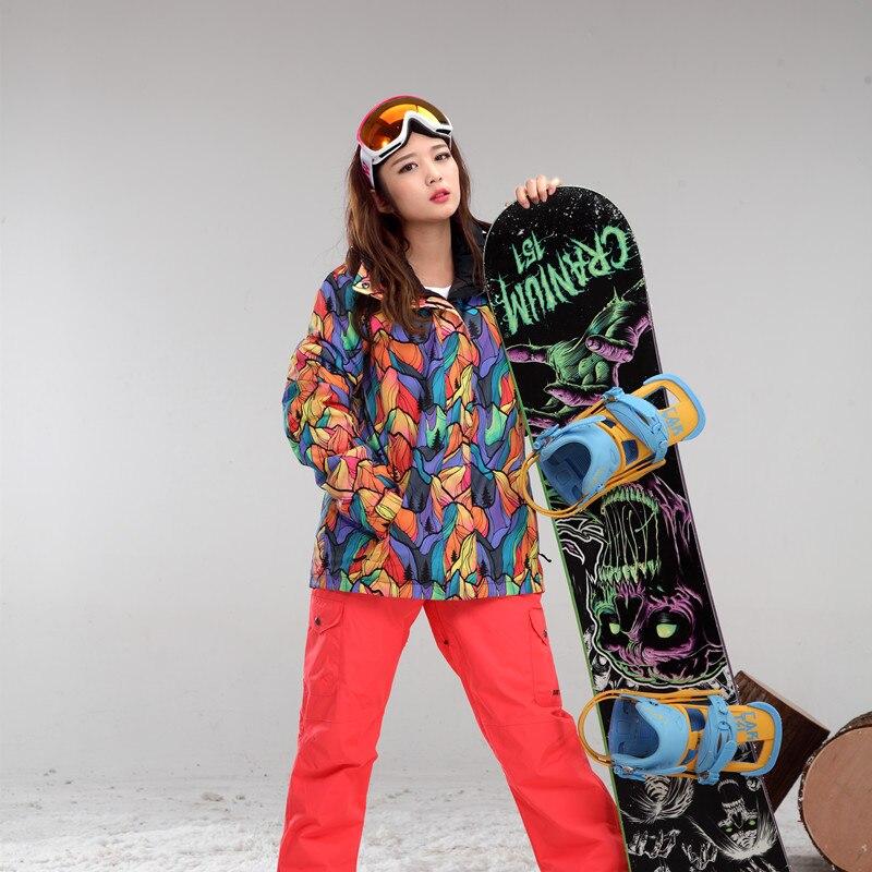 GSOU SNOWSkiing Chaquetas traje Femenino traje de esquí a prueba de viento impermeable al aire libre