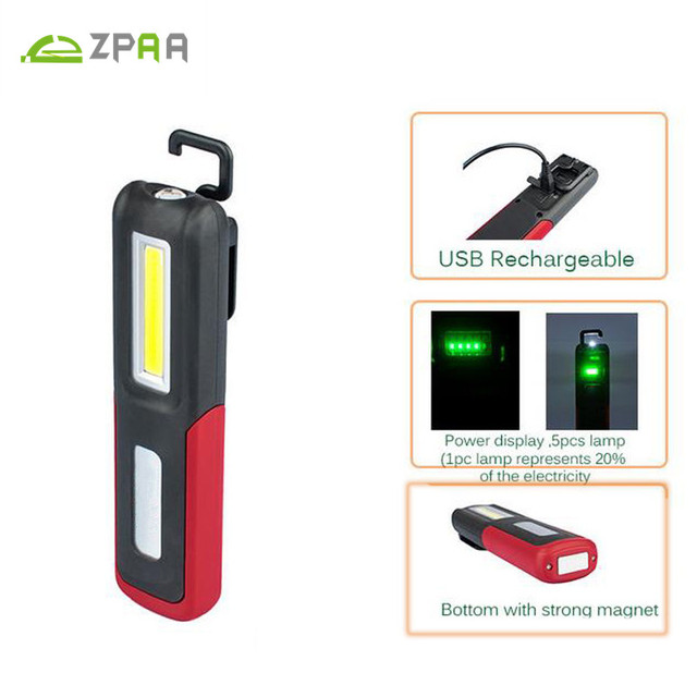 ZPAA USB Rechargeable LED Flashlight Torch Work Light Stand COB Lanterna Magnetic HOOK Built-in Battery Bright Repair Work Lamp