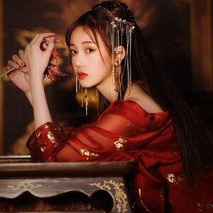 Image 5 - Intrattenimento musiche e canzoni di Stile Cinese del Vestito Femminile/Donne Rosso Elegante Intrattenimento Musiche E Canzoni Cinese Antica E Tradizionale Vestiti di Costumi di Danza Popolare DQL350
