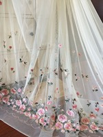 1 Yard Delicate Pink Floral Embroidery Soft Tulle Lace Fabric with Rosebud Pattern for Lace Dress ,Prom Dress Gown