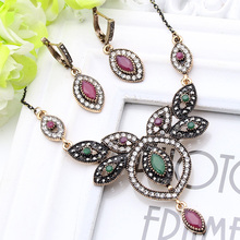 Vintage Turkish Women Leaf Jewelry Sets Dragonfly Earrings Necklace Antique Gold Plated Ruby Rhinestone Dubai Ethnic Jewellry
