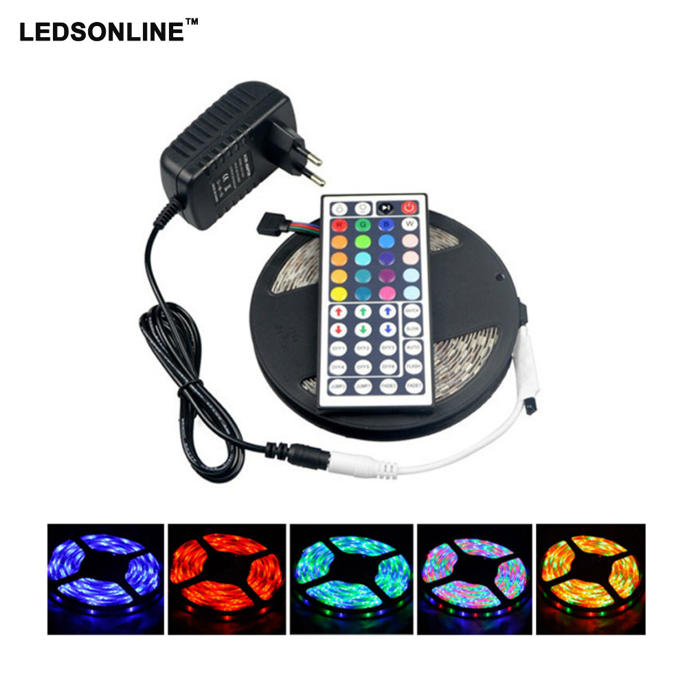 LED Strip 5M 300Led 3528 SMD IR Remote Controller Power Adapter Led Tape Light Waterproof Home Decoration Lamps