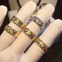 New rhombus ring Pure 925 Sterling Silver Jewelry For Women Wedding cut pattern Rings Gold Color Lozenge Grid Rings