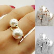 dd5e1747f5d5 Anillo de moda de las mujeres de oro plata ligero elegante encantador  mujeres chicas perla simulada apertura ajustable anillos