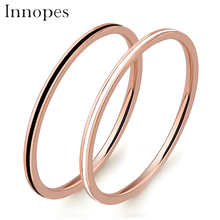 Innopes vintage Small rings double ring women stainless steel black The thin minimalistic  style