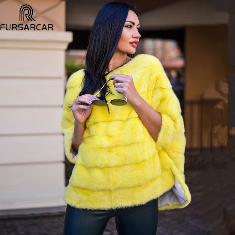 FURSARCAR Luxury Woman Real Mink Fur Coat Genuine Fur Poncho Natural Winter Jacket For Female Full Pelt Real Fur Cape Shawl Coat