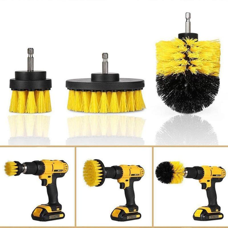 3 Pcs Electric Scrubber Brush Drill Brush Clean for Bathroom Surfaces Tub Shower Tile Grout Cordless Scrub Drill Cleaning Kit