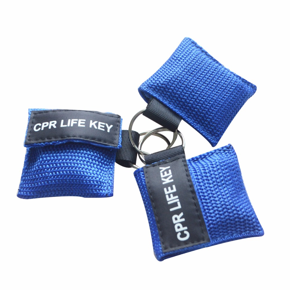 500Pcs CPR Key With Mouth To Mouth Breathing Masks Face Shield With Keychain Key Ring For First Aid Use With Blue Nylon Pouch цена