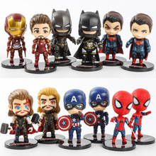 6 pcs/set Justice Hero Batman Superman Avengers Spider-Man Iron Man Cute Ornaments Action Figure Toy Doll Grandson Birthday Gift цена
