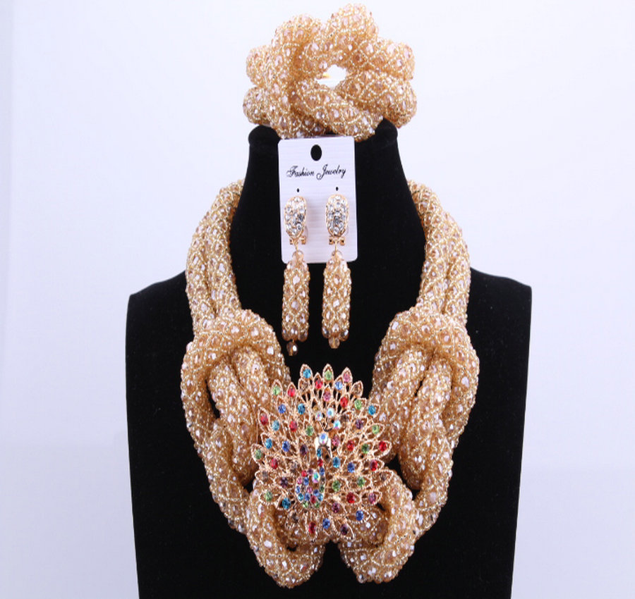 Jewelry Sets Gold Color Animal Nigerian African Beads Jewelry Set Gold For Brides Women Bridal Beads Sets Free Shipping 2018 free shipping china manufacturer sell jewelry set italian gold color jewelry sets bridal elegant jewelry set