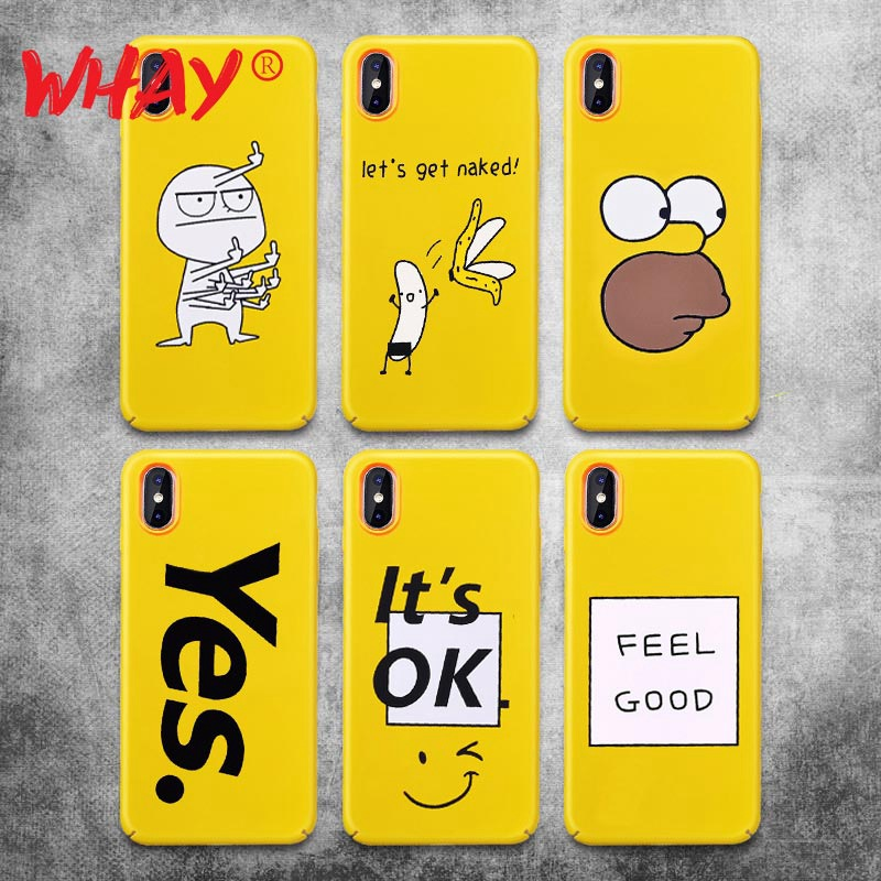 Yellow Cute Case For iPhone X Cover Hard PC Luxury Phone