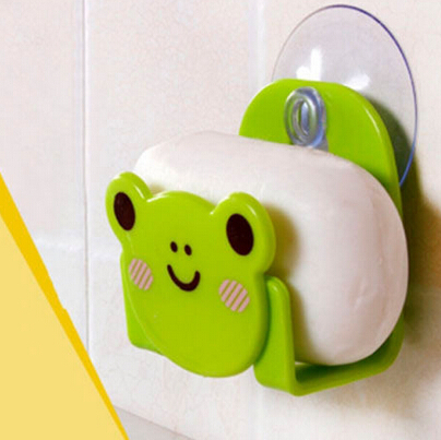 Cartoon Mini Bathroom Shelves Soap Holder Suction Cup Storage Holder Carton Print Dish Cloth Sponge Holder