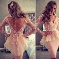 2017 Vestidos De Novia Party Dresses Open Back Long Sleeves Short Cock Tail Dress prom Dress dresses CE693