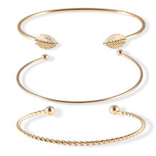 New style European and American vogue is contracted individual character leaf 3 open bracelet