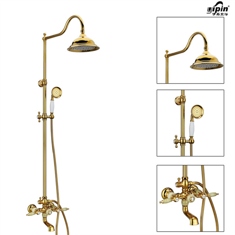 Bathroom Wall Mounted Golden Finished Brass Shower Faucet Set Rainfall bath Shower Tub Mixer Tap with Handheld Shower Head