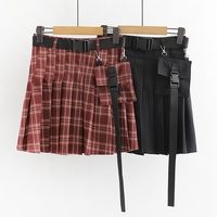 Gothic Harajuku Women Punk Skirt Casual Cool Chic Preppy Style Red Plaid Pleate Black Female Fashion Skirts
