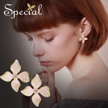 Special Fashion Flower Petal Stud Earrings Enamel  Ear Pins Luxury Rhinestones Jewelry Gifts for Women S1792E