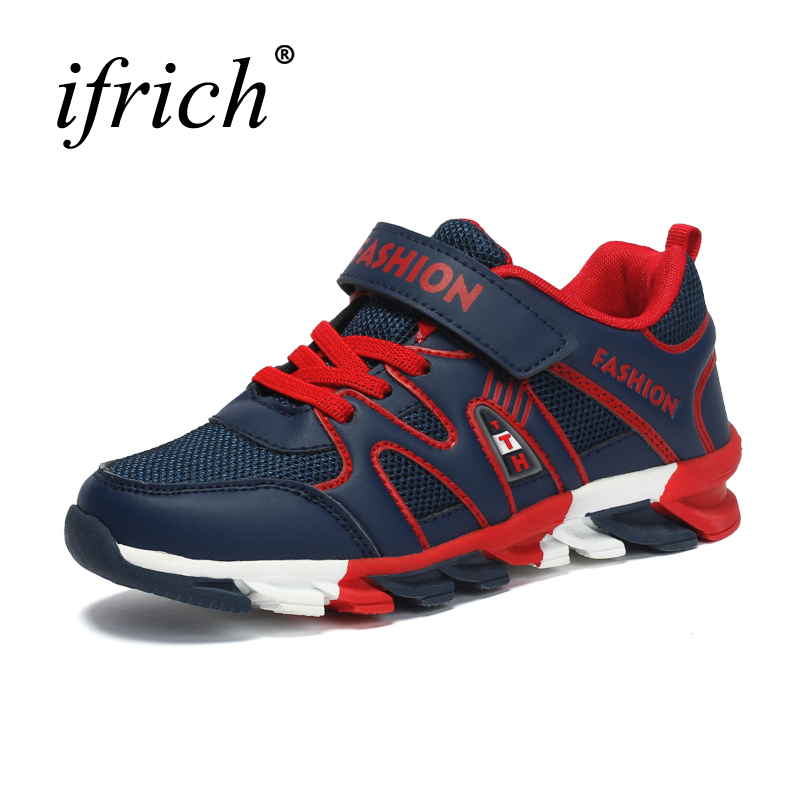 2017 New Cool Kids Boys Shoes Girls Lace Up Teenager Trainers Sport Blue Famous Brand Sneakers Wearable Walking Shoes Children forudesigns kids sport shoes boys girls for children walking cycling running nebula pringting lace up sneaker shoes outdoor