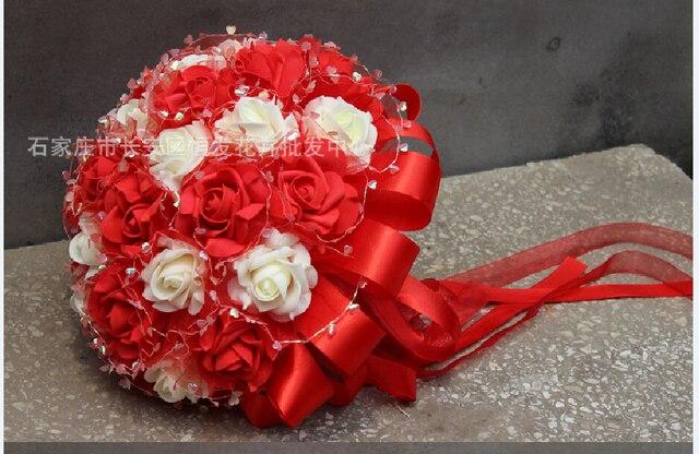 2017 Flores de La Boda Ramos de Novia Ramo De La Boda Barato de Marfil y Rojo Artificial Ramo de Novia ramo de Rosas de matrimonio