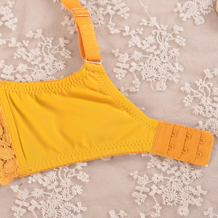 Women's Plus Size Bra Sexy Lace Bras Larger Sizes Yellow Bralette Wide Straps Full Coverage BH For Big Breasted Women C D E F G 30