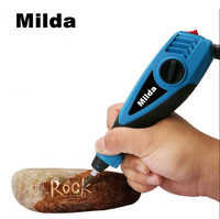 Milda 15W 220V Multifunction Electric Engraver Pen Carving Tool 6 Speed Carbide Steel Tip Engraving Pen