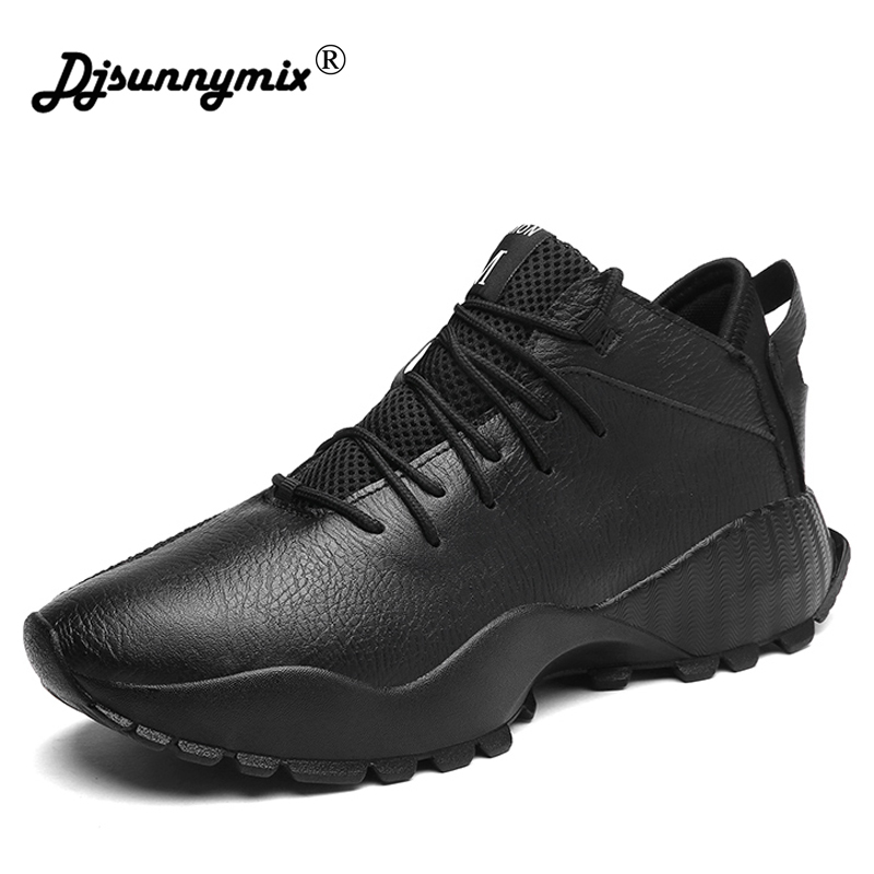 цена на DJSUNNYMIX Brand Latest Outdoor Running Shoe Men's Non-slip Sneakers Trainers Sport Shoes Black white