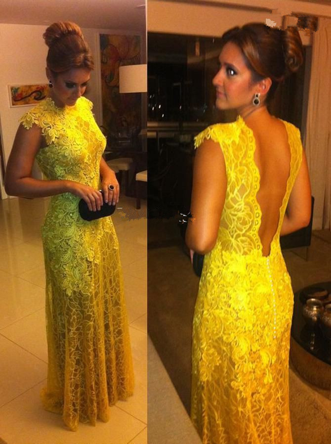 Sexy Long Evening Gown Yellow With Sleeves High Neck Nude Back Lace Prom Party Gowns 2018 Fashion Mother Of The Bride Dresses